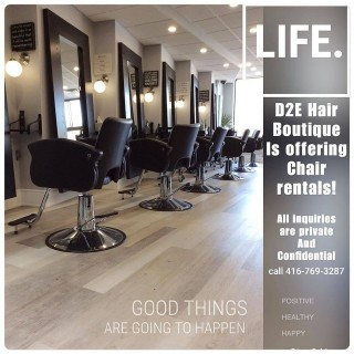 Welcome to D2E Hair Boutique! If you are looking to become an independent stylist, with the freedom to make & run your own schedule with  limitless income potential, then you should join our team. Send us an email to make a appointment: d2e-salon@rogers.com