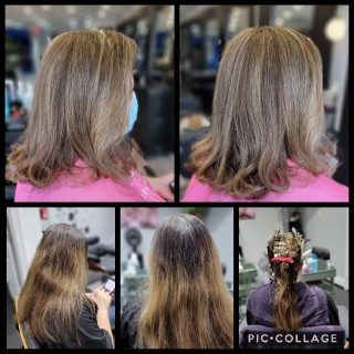 Transformation Thursday!  Our  amazing client @alicabral0616 , Before, during and after, all I can say is...... absolutely gorgeous darling!!! . . . . . #d2e #d2ehairboutique #beforeandafter #bloorwestvillage #bia #hairgoals #ecofriendly #veganhaircare #sustainable #highlights #fullcolor #hair #hairporn  #instahair #haircut #transformation #transformationthursday #covidhair #fabhair #naturalbeauty #hairsalon